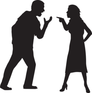 silhouette man and woman arguing